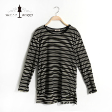 New Autumn Black White Stripe Crewneck Senhora Blusas