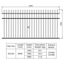 1.2/1.5/1.8m. H X 2.4 M. W Rust-Free Aluminum Black Fence Section