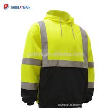 Chine Usine haute visibilité chaux / Orange Sweat-shirt à capuche de sécurité de classe 3 Sweat-shirt de travail