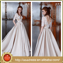 AE-08 Ornate Stain Soft A Line Formal Wedding Party Gown 2016 New Fashion Half Sleeve Champagne Color Wedding Dress