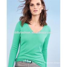V-образным вырезом женщин свитер оптом кашемировый свитер