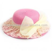 Sombreros de paja de papel del Bowknot del color del caramelo de las muchachas Sombreros elegantes románticos del verano de la manera
