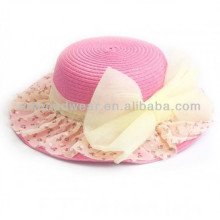 Girls Candy Color Bowknot Paper Straw Hats Romantic Elegant Fashion Summer Hats