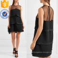 Vestido de verão mini preto tule em camadas sem mangas babados manufatura atacado moda feminina vestuário (t0287d)