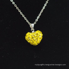 2014 new style Shamballa Necklace Wholesale Heart Shape New Arrival Yellow Crystal Clay Shamballa With Silver Chains Necklace