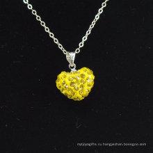 2014 новый стиль Shamballa ожерелье оптовой форме сердца новое прибытие желтый кристалл глины Shamballa с серебряными цепочками ожерелье