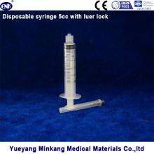 3 piezas jeringa estéril desechable médica 5ml (luer lock)