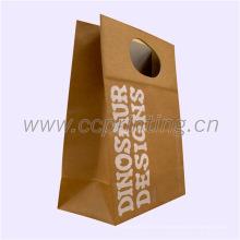 Paquet de papier d'emballage de Brown de papier d'emballage avec la poignée de papier