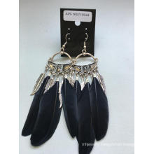 Black Feather, Leaf Earrings with Metal