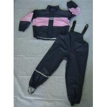 Yj-6070 Filles Enfant Enfants Printemps Rose Noir Imperméable pluie PU Rain Slicker