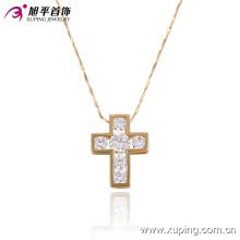 32279-Fashion Popular 18k chapado en oro CZ Diamond Crosss Collar de la joyería de imitación colgante