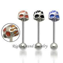 Piercing de langue Faux crâne en acier inoxydable 316L de bijoux uniques