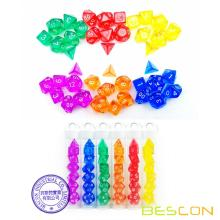 Bescon Mini Transluzente polyedrische RPG Würfel Set 10 MM, kleine RPG Würfel Set D4-D20 in Tube Verpackung, Assorted Coloured von 42st