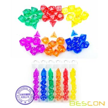 Bescon Mini Translucent Polyhedral RPG Dice Set 10MM, Small RPG Dice Set D4-D20 in Tube Packaging, Assorted Colored of 42pcs
