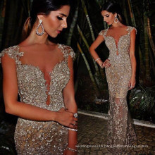 Customized Sexy Heavy Beading Tulle Nude Long Evening Dress