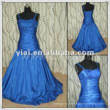 PP2553 Ball Gown beaded Blue taffeta Floor Touching Evening Gown