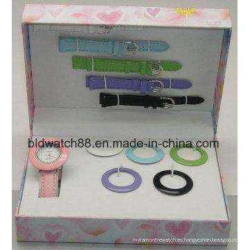 Juego de regalo de promoción Japan Movement Watch con correas y anillos intercambiables