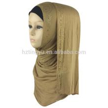 Factory supplier color plain women printed cotton hijab muslim jersey stone hijab