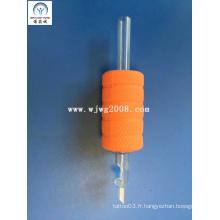 """Tatouage Nouveauté 1 """"(25mm) Grip en caoutchouc orange avec pointe de transparence Tg-R25-94"""