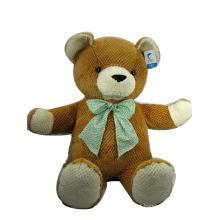 Urso de pelúcia macio com laço