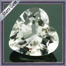 Natural forma coração precioso branco topázio pedra (STG-92)
