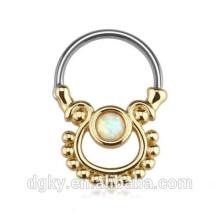 Einzelner Opal-Gold überzogener chirurgischer Stahl-Nasen-Stier-Ring-Septum-Clicker