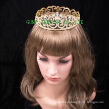 2016 Nueva corona cristalina plateada oro del Rhinestone del diseño de la tiara