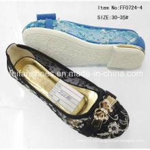 Черные детские туфли плоские туфли Одноместный обувь для девочек обувь (FF0724-4)
