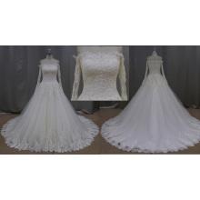 SL231-1 высокое качество с плеча кружева бисером большой границы свадебное платье 2016