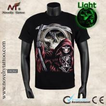 Y-100206 Ceifador seu tempo é up-Luminous T-shirt brilha no escuro