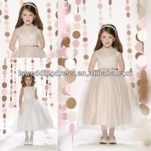 HF2098 más nuevo estilo joya cuello de encaje blanco sin mangas de raso arco delantero organza té longitud bola vestido de flores cremallera chica vestidos