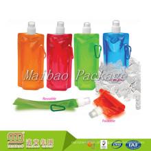 Aceite o malote transparente de dobramento personalizado do líquido bebendo da água reusável com bico