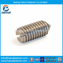 Stainless steel slotted set screw with cone point
