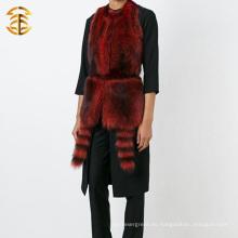 La mayoría de las mujeres populares populares de piel de mapache guarnecido chaleco Trim con capucha de piel de cola