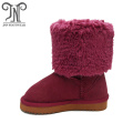 Kids Winter Young Girl Burgundy Half Boots