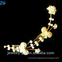 High quality gold plated princess rhinestone flower bridal combs elegant metal hair combs