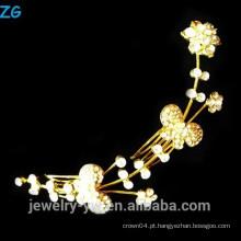 Alta qualidade banhado a ouro princesa strass flor nupcial pentes pentes de cabelo elegante metal