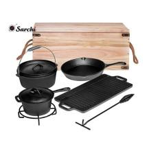 Amazon Heißer Verkauf Durable Gusseisen Kochgeschirr Set Für Outdoor