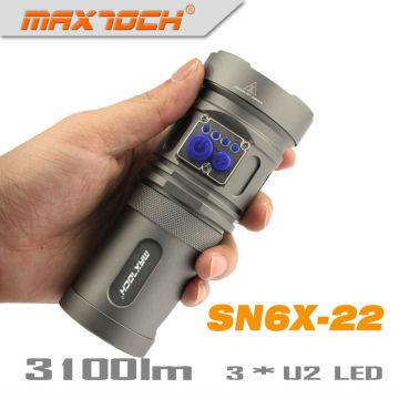 Maxtoch SN6X-22 U2 3 * 18650 Akku Pack kunterbunte Polizei Taschenlampe