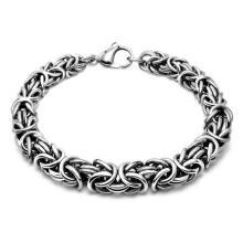 Bracelets de chaîne de poignet en acier inoxydable couleur argent Balck pour les hommes