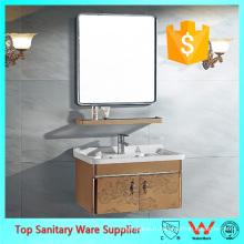 Mur en acier inoxydable suspendu vanité de salle de bain