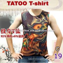 2016 hot sale sleeveless thin tattoo t-shirt, tattoo sleeve clothing
