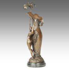 Vase Carving Statue Maiden Decoration Bronze Sculpture TPE-667
