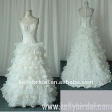 2010 Romântico A-line Ruffle Organza Lace Wedding Dress (KBS03)