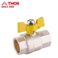 Top butterfly handle internal thread brass gas valve Dn15