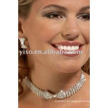Conjunto de joyas rhinestone collar bowtie