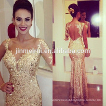 Sexy Nude Back Champagne Sequins Long Prom Dress Mermaid Dresses