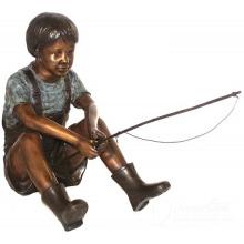 Китай производители Размер жизни бронза рыбалка маленький мальчик сад статуи для украшения сада