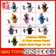 Marionnette à main en peluche et doigt de Noël pour l'ensemble