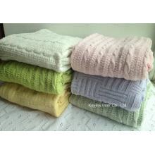 Couverture de jet de couverture de tricot simple et douce